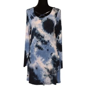 Simply Southern Blue Tie-Dye Dress with Pockets